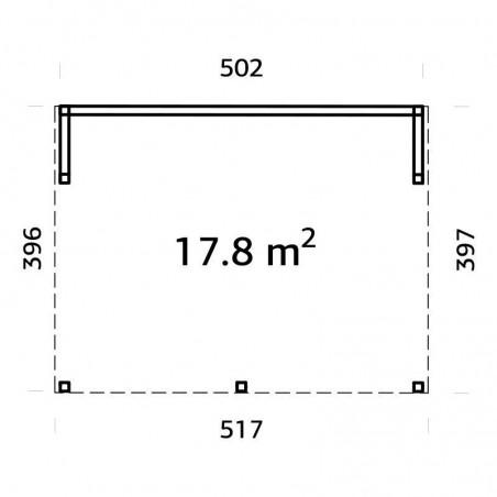 Medidas caseta de madera acristalada Nova 17.8 m2