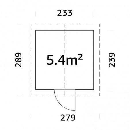 Medidas de cobertizo de madera para jardín Lucas  233x239 cm, 5.4m²