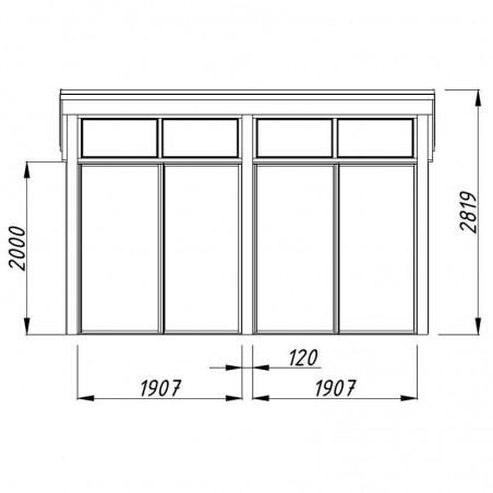 Medidas frontal caseta madera Nova 13m²
