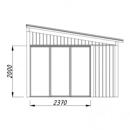 Medidas laterales caseta madera Nova 13m²