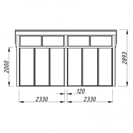 Medidas frontal caseta madera Nova 17.8m²