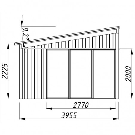 Medidas lateral caseta madera Nova 17.8m²