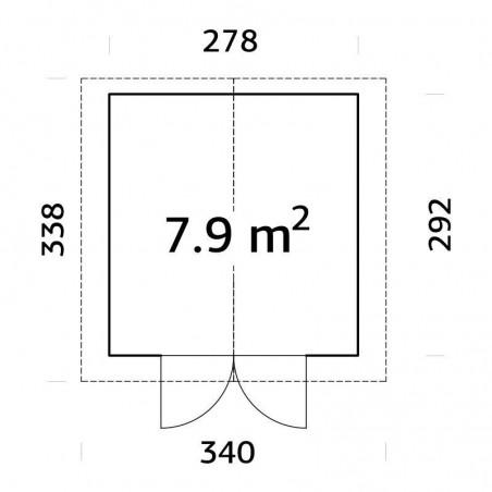 Plano caseta de madera Tiago tratada - 7,9m²