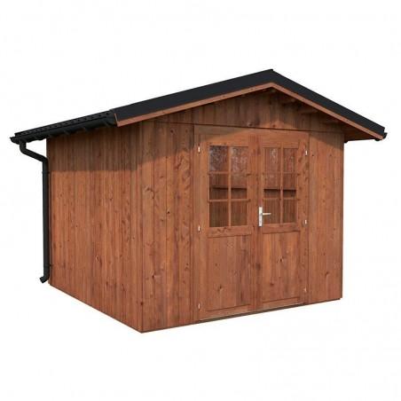 Caseta de madera tratada Tiago 7,9m² - Con techo de metal