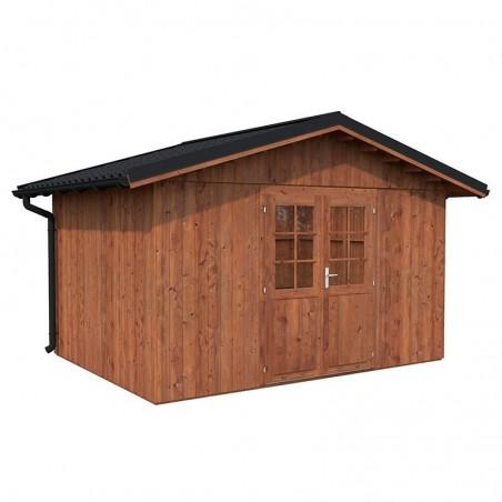 Caseta de madera tratada Tiago 11m² - Con techo de metal