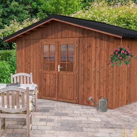 Caseta de madera tratada para jardín Tiago 11m² - Con techo de metal