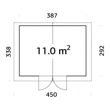 Medidas caseta de madera tratada Tiago 11m² - Con techo de metal