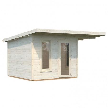 Caseta de madera laminada con techo plano Grace 8,1+4,1 m²