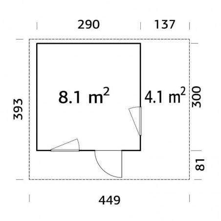 Medidas caseta de madera laminada con techo plano Grace 8,1+4,1 m²