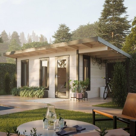 Caseta de madera laminada con techo plano Grace 12,4+4,1 m²