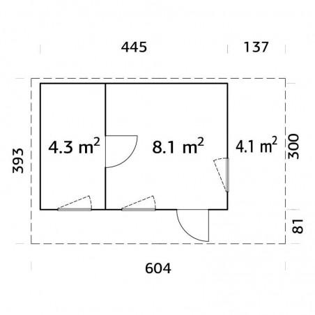 Medidas caseta de madera laminada con techo plano Grace 12,4+4,1 m²