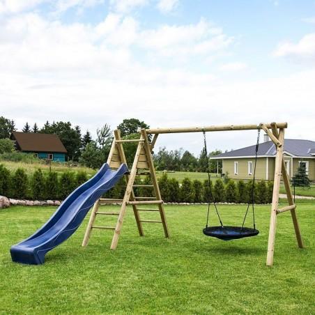 Parque infantil de madera con tobogán Kasper  366x200x230cm