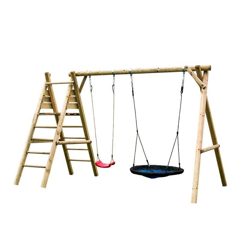 Parque infantil de madera Kasper con columpio y asiento nido. Sin tobogán