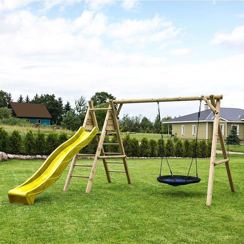 Parque infantil de madera con tobogán amarillo Kasper