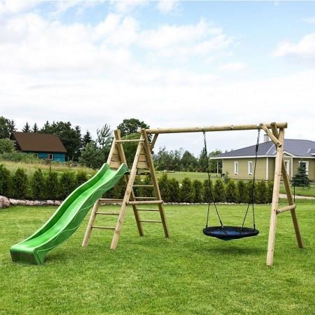 Parque infantil de madera con tobogán verde claro Kasper