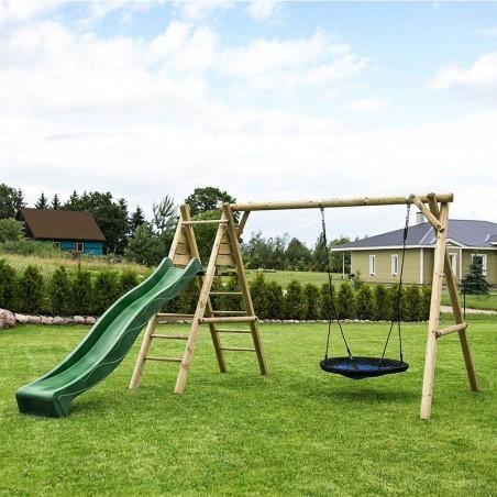 Parque infantil de madera con tobogán verde oscuro Kasper