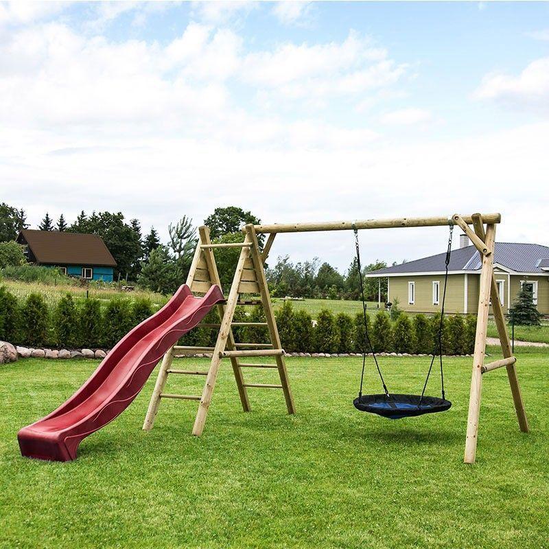 Parque infantil de madera con tobogán rojo Kasper