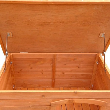 Puerta abatible de caseta de madera para perros