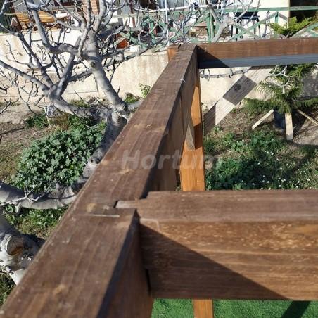 Cajeado en pergola de madera Elda. Sistema de montaje fácil y seguro