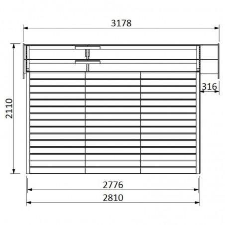 Medidas caseta de madera para jardín Solano. 16 mm, 274 x 281 cm, 7,7 m²