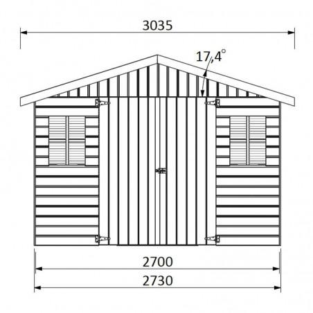 Medidas caseta de jardín Solano. 16 mm, 274 x 281 cm, 7,7 m²