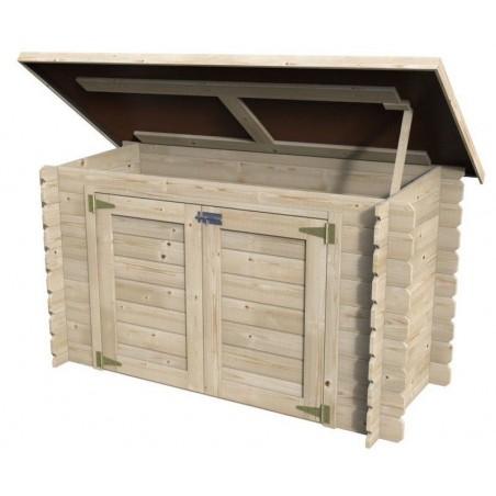 Armario de madera para exterior con techo abatible.