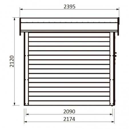 Medidas caseta de jardín Mareuil. 28 mm, 230 x 217 cm, 4,99 m²