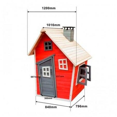 Medidas casita infantil madera pintada roja KNH1010