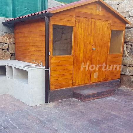 Caseta de madera para jardín con teja y tubo de desagüe Fresno - 12 mm