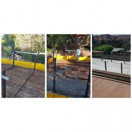 Sistema de sujeción y soler de hormigón para piscina de madera prefabricada