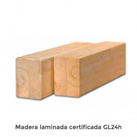 Madera Laminada. Pérgola Madera Fuengirola. Postes 12x12cm