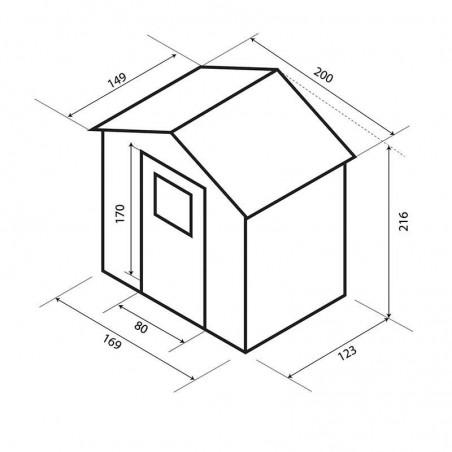 Medidas Caseta de madera Juliette. 12 mm, 200 x 136 cm. KG12102 - Hortum