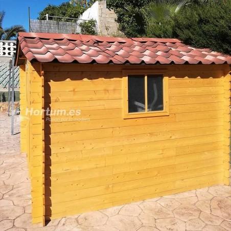 Caseta de madera Galerna con teja asfáltica de color fiorentino