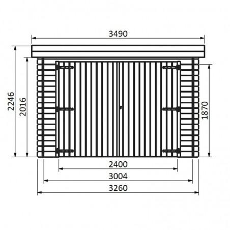 Medidas frontales garaje de madera Galán