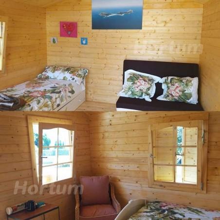 Interior caseta de madera amueblada. Caseta 101885 Palmako