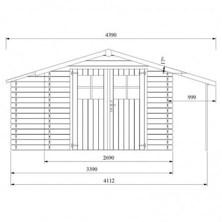 Medidas frontal caseta de madera Talcy - Hortum