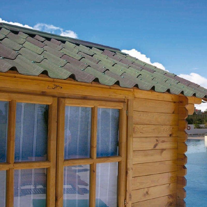 Tejas asfálticas verde para casetas de madera