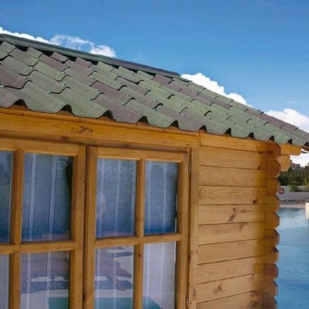 Kit teja asfáltica verde para caseta de madera Lodz 13m²