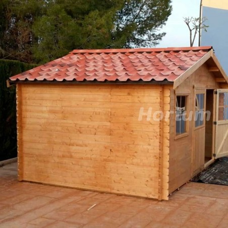 Kit teja asfáltica verde para caseta de madera Lotta 16m²