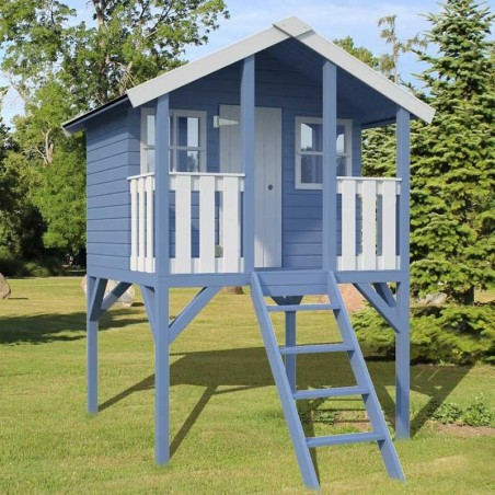 Casita de madera azul para niños