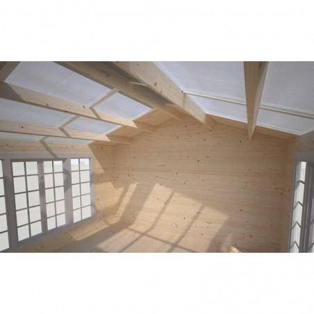 Interior de la caseta de madera Irene, 34 mm, 400 x 400 cm 13,9 m²