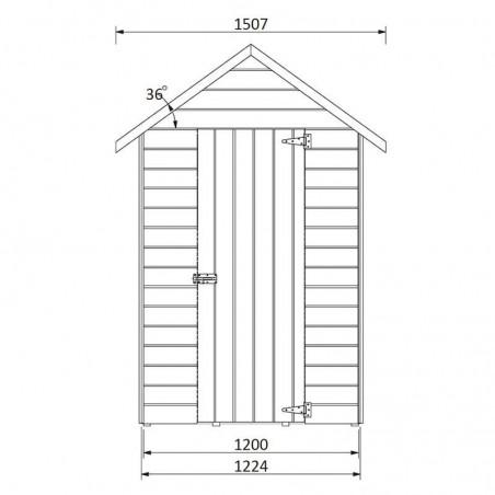 Medidas caseta de madera Ambi, 12 mm - 122x170 cm