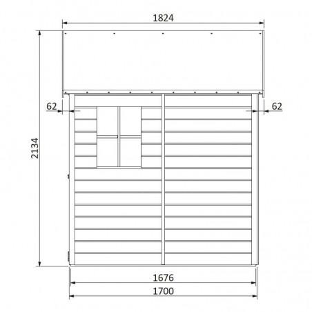 Medidas lateral caseta de madera Ambi - Hortum.es