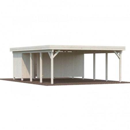 Pérgola de madera Karl 40,6m2 con almacén trasero
