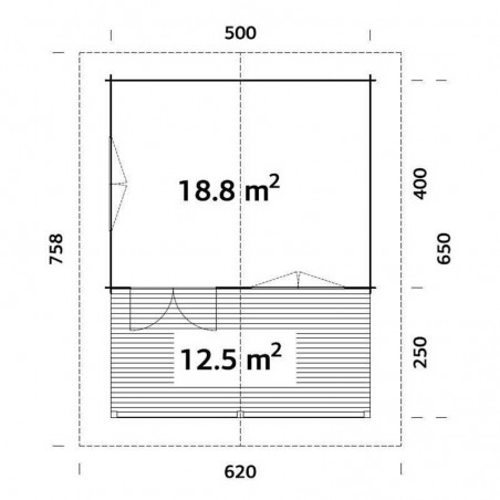 Medidas Casa de madera Agneta 18,8+12,5 m²