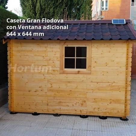Caseta de madera con ventana adicional