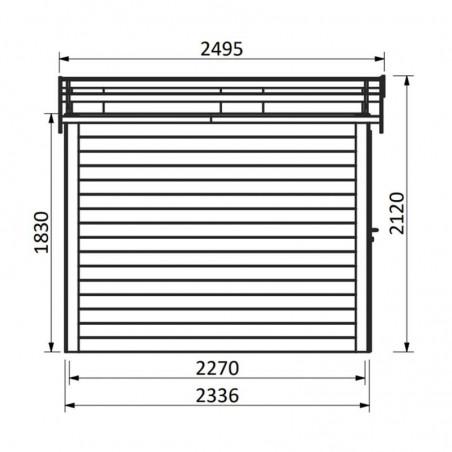 Medidas caseta de madera Mano. 19 mm, 230 x 234 cm, 5.36m²