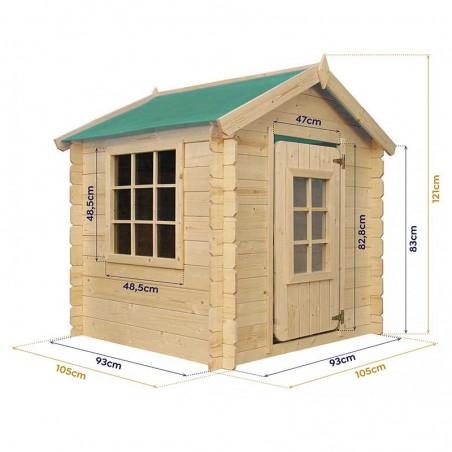 Medidas casita de madera infantil Hansel 105 x 105 x 121 cm, 1 m2