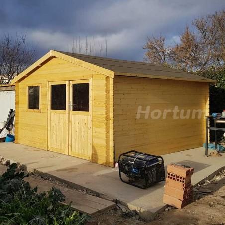 Caseta de madera 4x4 m - Floran de 28 mm