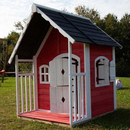 Casita de madera para niños roja